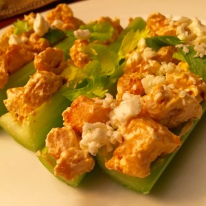 Buffalo Chicken Celery Sticks! Less mess, less calories, everything in one bite!